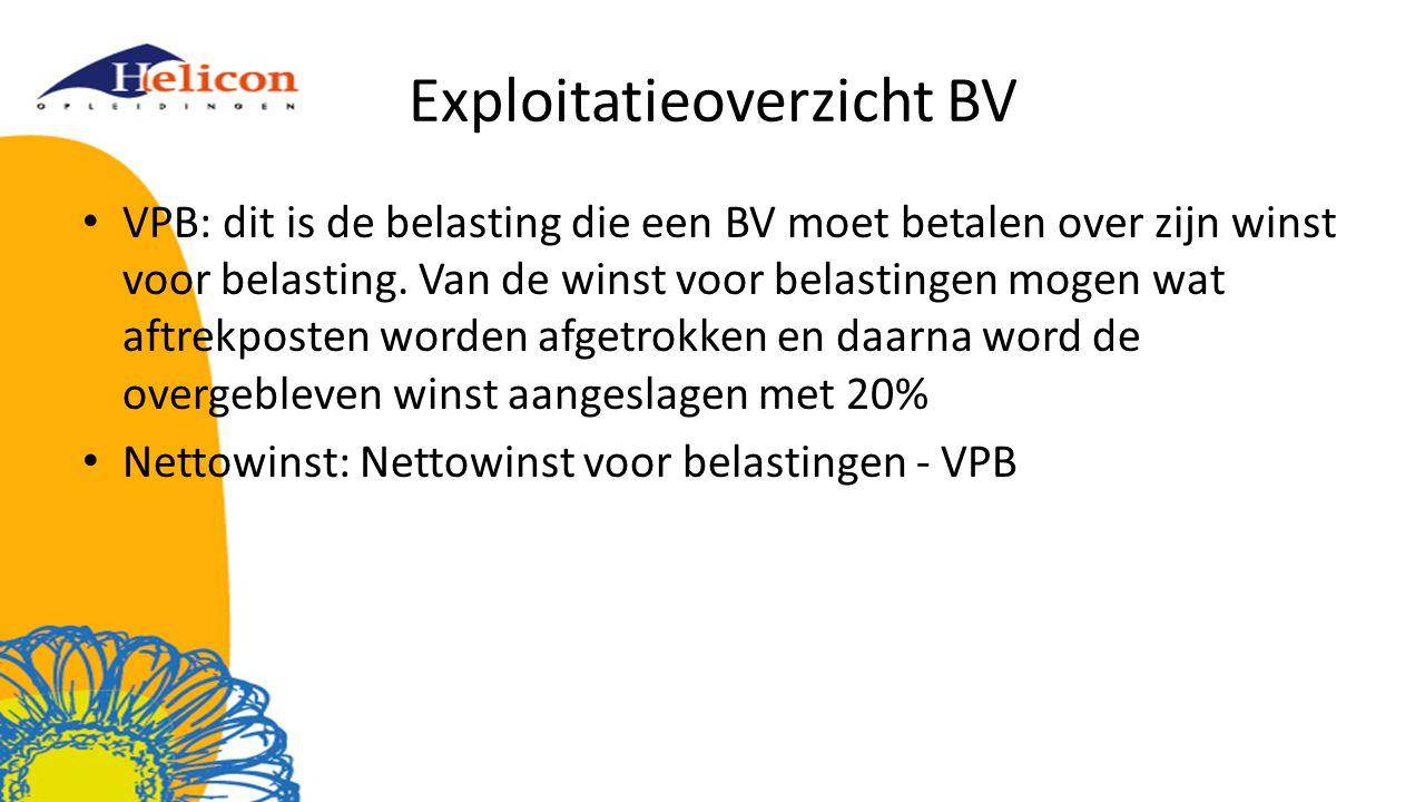 Exploitatieoverzicht BV VPB: dit is de belasting die een BV moet betalen over zijn winst voor belasting. Van de winst voor belastingen mogen wat aftre