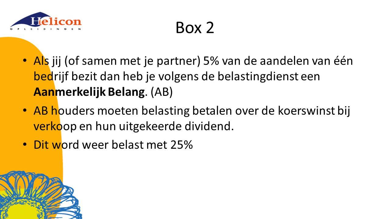Box 2 Als jij (of samen met je partner) 5% van de aandelen van één bedrijf bezit dan heb je volgens de belastingdienst een Aanmerkelijk Belang. (AB) A