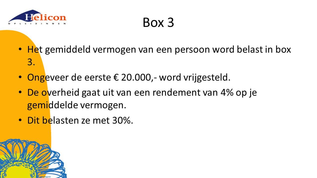 Box 3 Het gemiddeld vermogen van een persoon word belast in box 3. Ongeveer de eerste € 20.000,- word vrijgesteld. De overheid gaat uit van een rendem