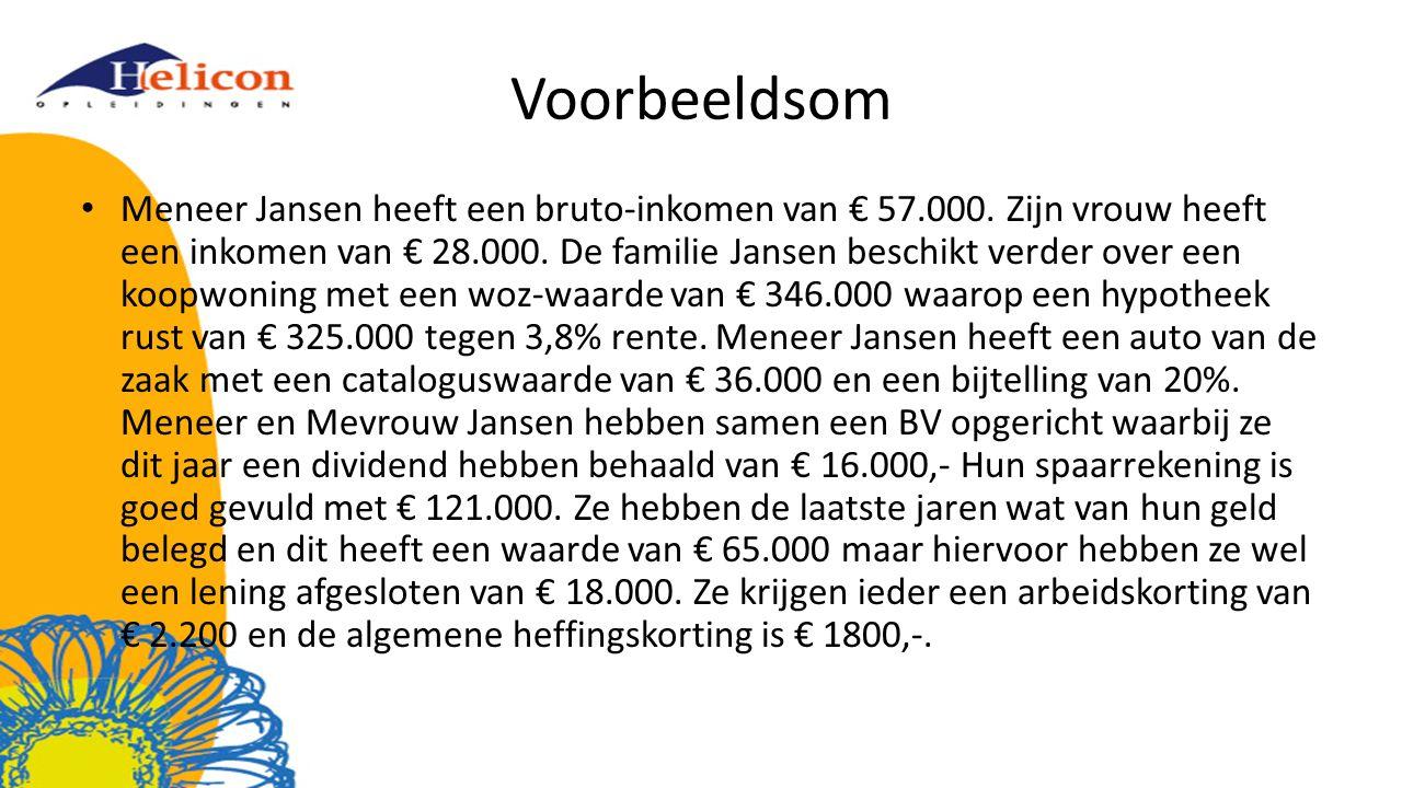 Voorbeeldsom Meneer Jansen heeft een bruto-inkomen van € 57.000. Zijn vrouw heeft een inkomen van € 28.000. De familie Jansen beschikt verder over een