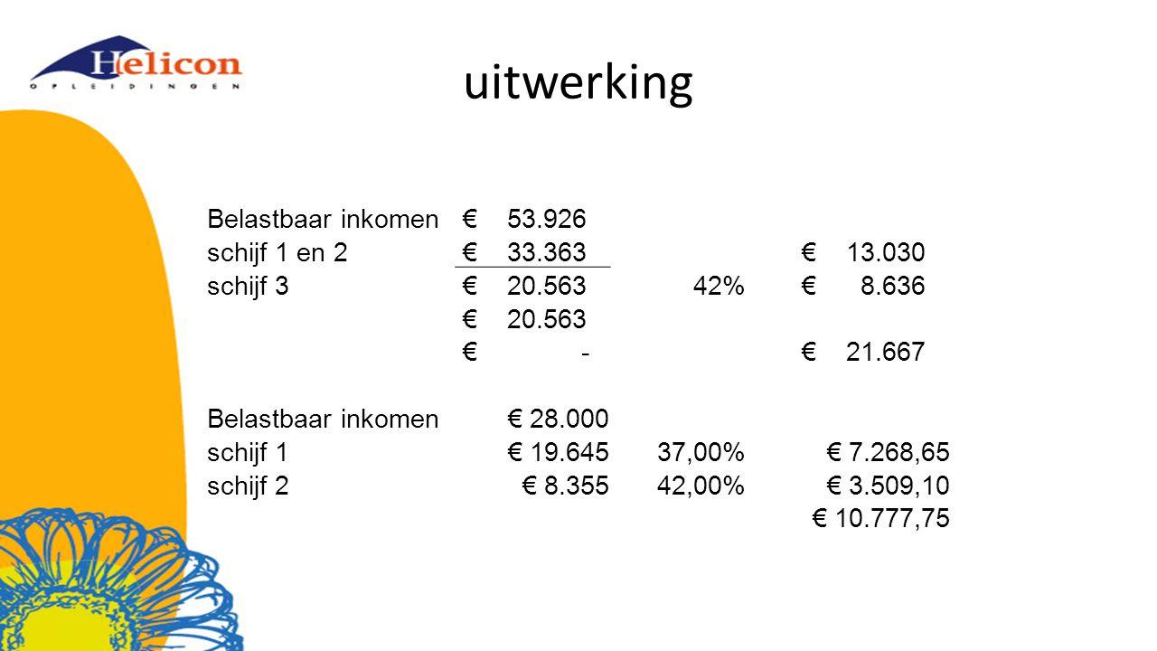 uitwerking Belastbaar inkomen € 53.926 schijf 1 en 2 € 33.363 € 13.030 schijf 3 € 20.56342% € 8.636 € 20.563 € - € 21.667 Belastbaar inkomen€ 28.000 s