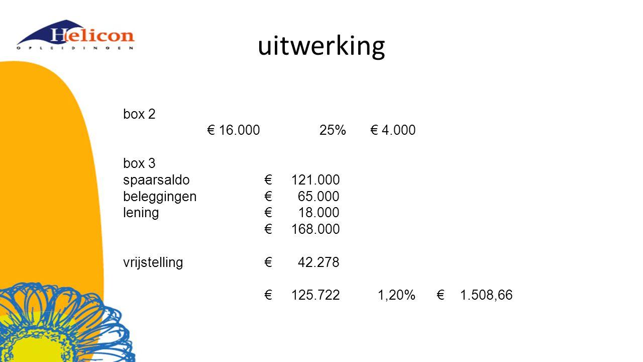 uitwerking box 2 € 16.00025%€ 4.000 box 3 spaarsaldo € 121.000 beleggingen € 65.000 lening € 18.000 € 168.000 vrijstelling € 42.278 € 125.7221,20% € 1