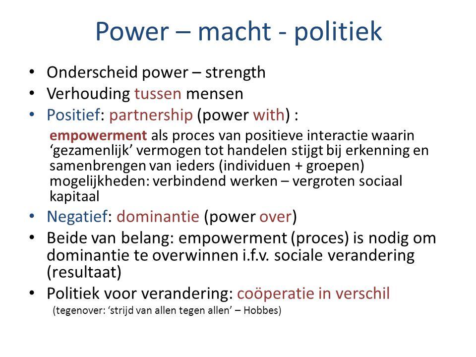 Power – macht - politiek Onderscheid power – strength Verhouding tussen mensen Positief: partnership (power with) : empowerment als proces van positie