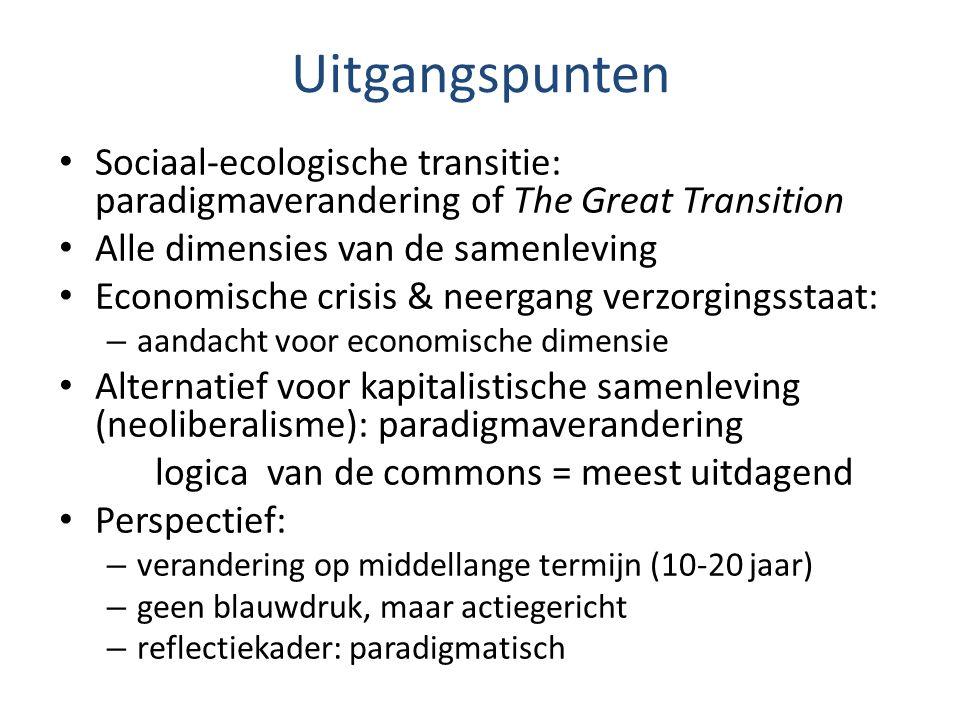 Uitgangspunten Sociaal-ecologische transitie: paradigmaverandering of The Great Transition Alle dimensies van de samenleving Economische crisis & neer