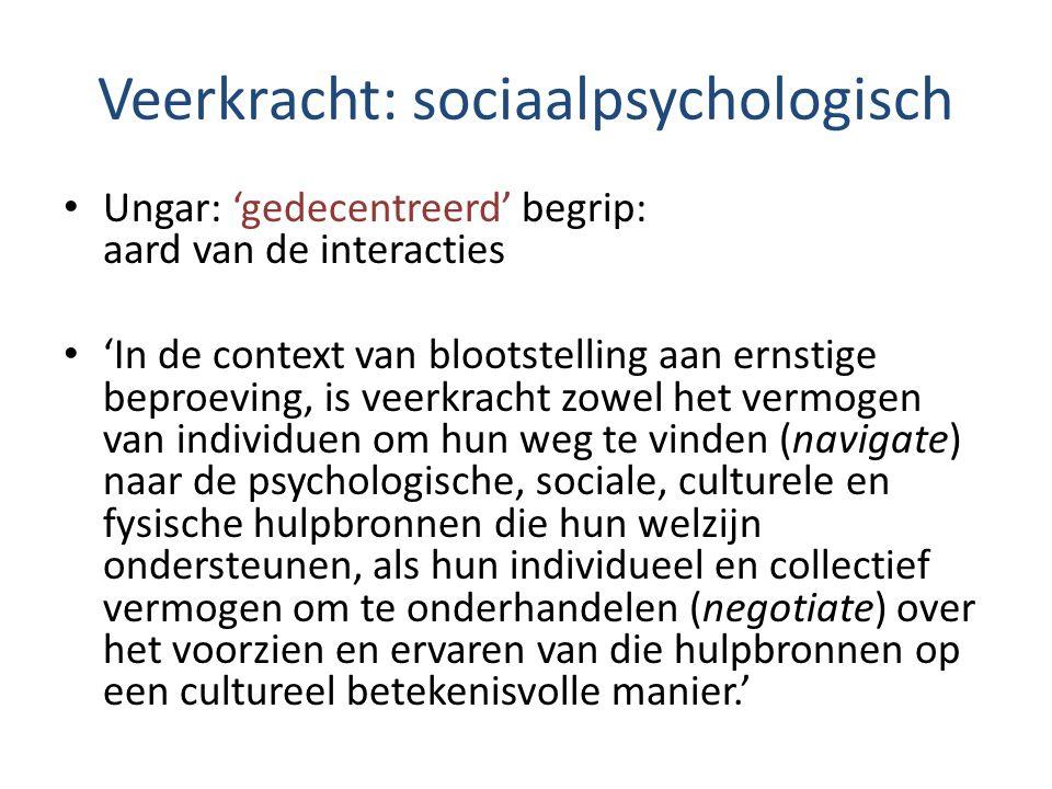 Veerkracht: sociaalpsychologisch Ungar: 'gedecentreerd' begrip: aard van de interacties 'In de context van blootstelling aan ernstige beproeving, is v