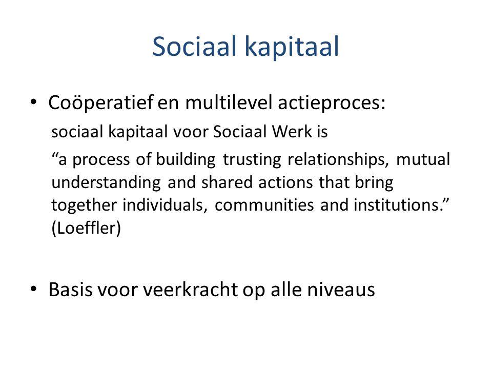 "Sociaal kapitaal Coöperatief en multilevel actieproces: sociaal kapitaal voor Sociaal Werk is ""a process of building trusting relationships, mutual un"
