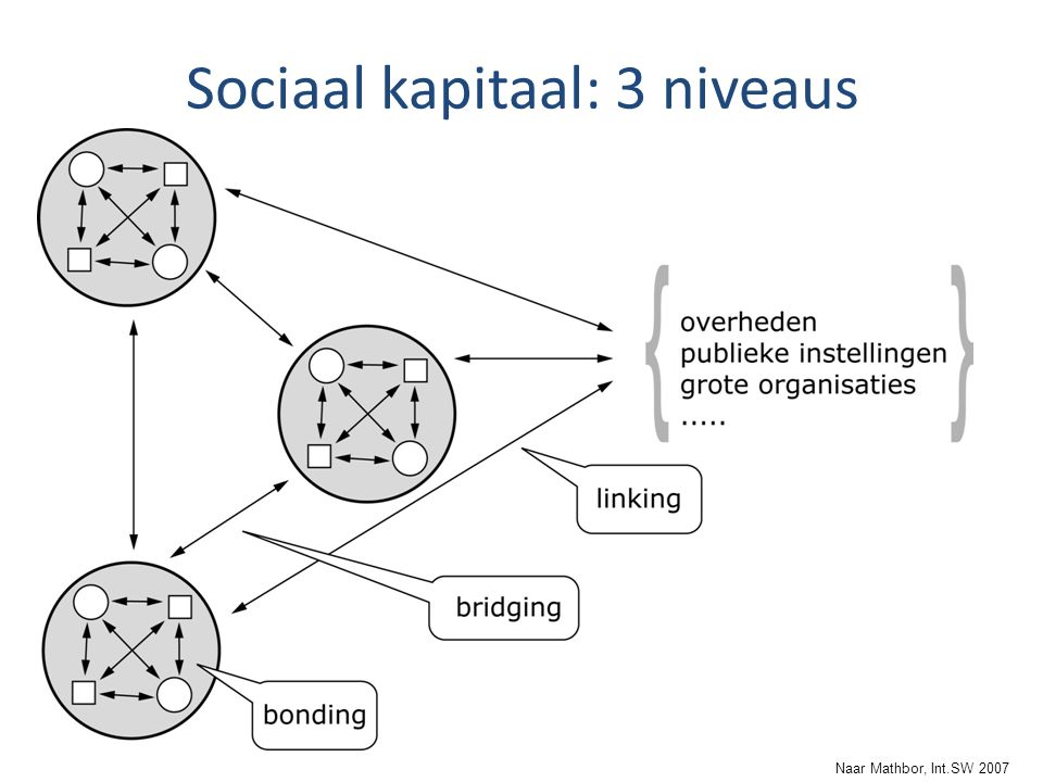 Naar Mathbor, Int.SW 2007 Sociaal kapitaal: 3 niveaus
