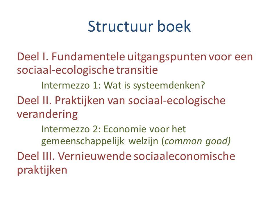 Structuur boek Deel I. Fundamentele uitgangspunten voor een sociaal-ecologische transitie Intermezzo 1: Wat is systeemdenken? Deel II. Praktijken van