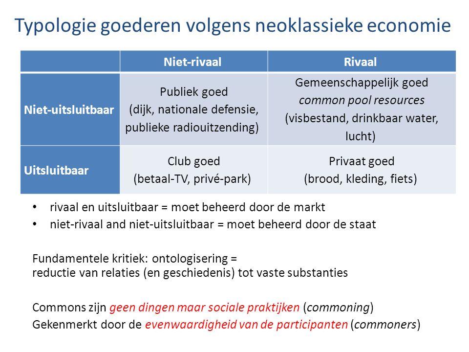 Typologie goederen volgens neoklassieke economie rivaal en uitsluitbaar = moet beheerd door de markt niet-rivaal and niet-uitsluitbaar = moet beheerd