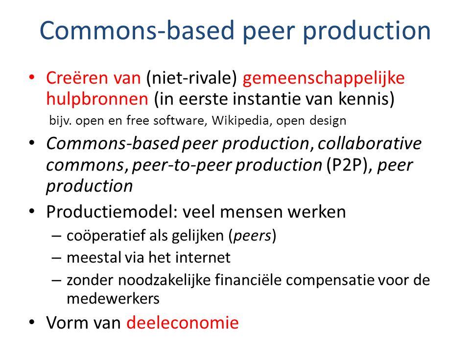Commons-based peer production Creëren van (niet-rivale) gemeenschappelijke hulpbronnen (in eerste instantie van kennis) bijv. open en free software, W