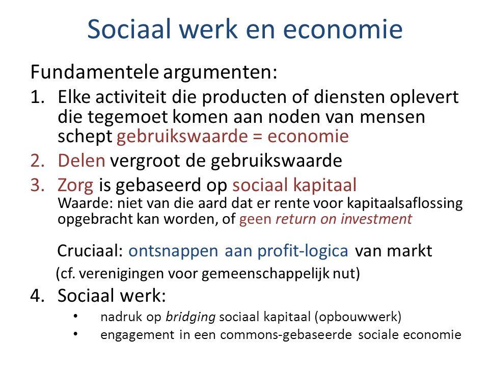 Sociaal werk en economie Fundamentele argumenten: 1.Elke activiteit die producten of diensten oplevert die tegemoet komen aan noden van mensen schept
