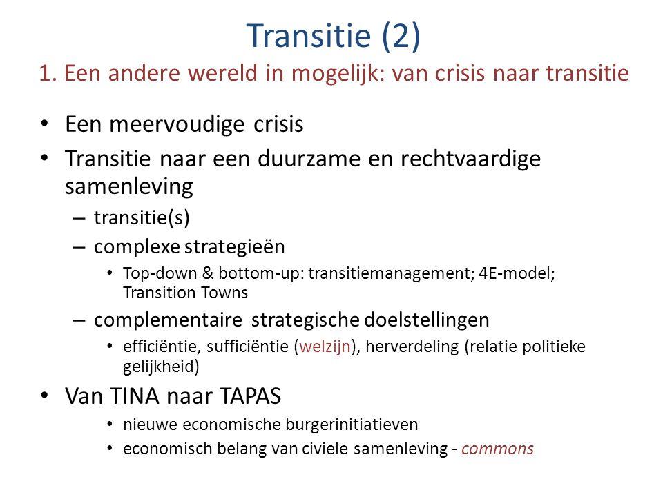 Transitie (2) 1. Een andere wereld in mogelijk: van crisis naar transitie Een meervoudige crisis Transitie naar een duurzame en rechtvaardige samenlev