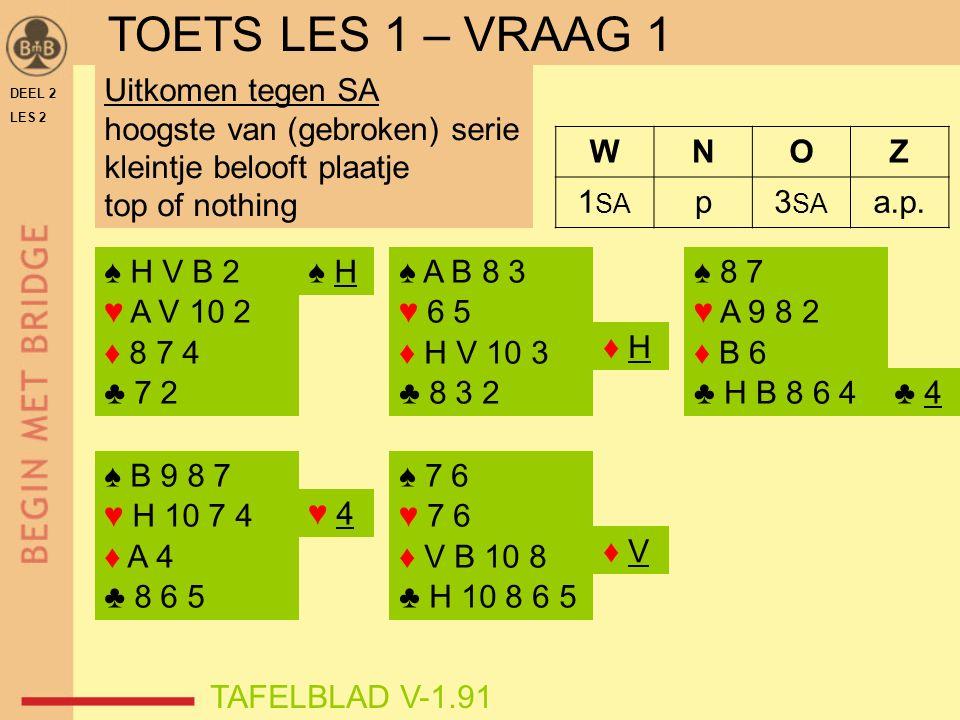 DEEL 2 LES 2 ♠ 8 7 ♥ A 9 8 2 ♦ B 6 ♣ H B 8 6 4 WNOZ 1 SA p3 SA a.p.
