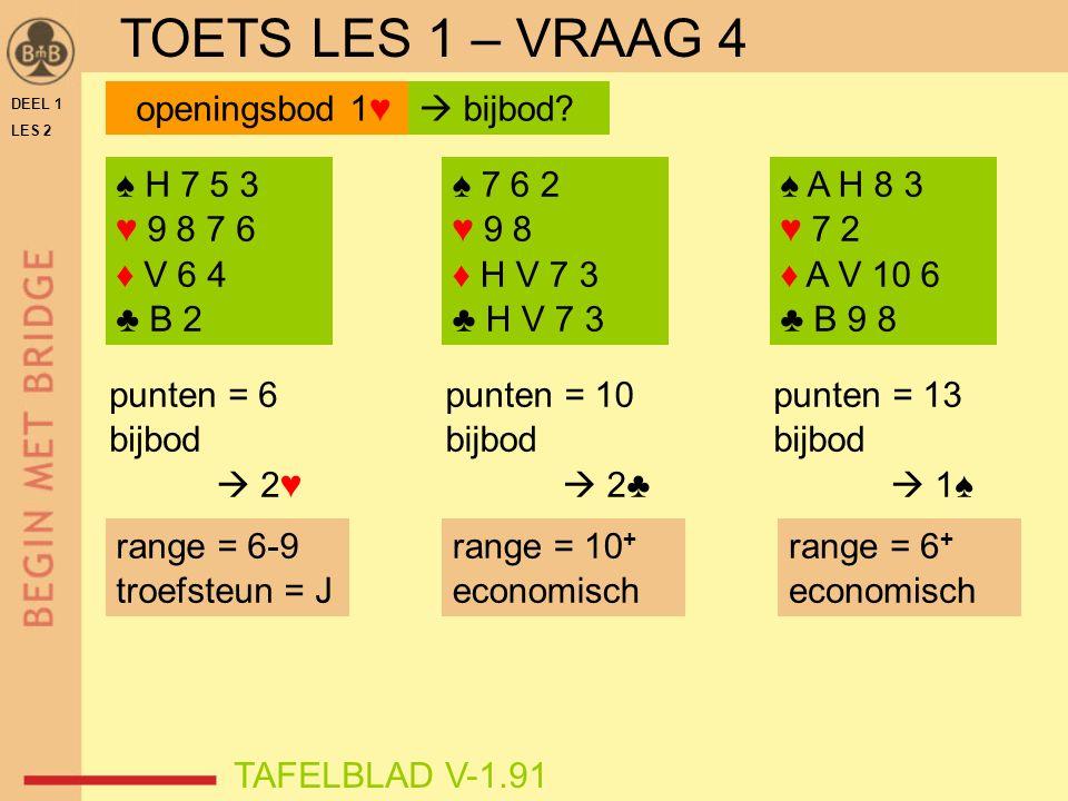 DEEL 1 LES 2 ♠ H 7 5 3 ♥ 9 8 7 6 ♦ V 6 4 ♣ B 2 ♠ 7 6 2 ♥ 9 8 ♦ H V 7 3 ♣ H V 7 3 ♠ A H 8 3 ♥ 7 2 ♦ A V 10 6 ♣ B 9 8 punten = 13 bijbod  1♠ punten = 10 bijbod  2♣ TAFELBLAD V-1.91 openingsbod 1♥  bijbod.
