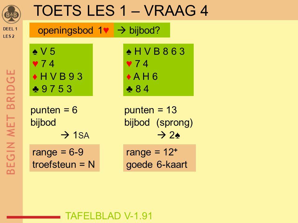 DEEL 1 LES 2 ♠ V 5 ♥ 7 4 ♦ H V B 9 3 ♣ 9 7 5 3 ♠ H V B 8 6 3 ♥ 7 4 ♦ A H 6 ♣ 8 4 punten = 6 bijbod  1 SA punten = 13 bijbod (sprong)  2♠ TAFELBLAD V-1.91 openingsbod 1♥  bijbod.
