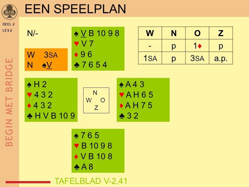 ♠ H 2 ♥ 4 3 2 ♦ 4 3 2 ♣ H V B 10 9 ♠ V B 10 9 8 ♥ V 7 ♦ 9 6 ♣ 7 6 5 4 ♠ A 4 3 ♥ A H 6 5 ♦ A H 7 5 ♣ 3 2 ♠ 7 6 5 ♥ B 10 9 8 ♦ V B 10 8 ♣ A 8 N W O Z N/- W 3 SA N ♠V DEEL 2 LES 2 WNOZ -p1♦1♦p 1 SA p3 SA a.p.