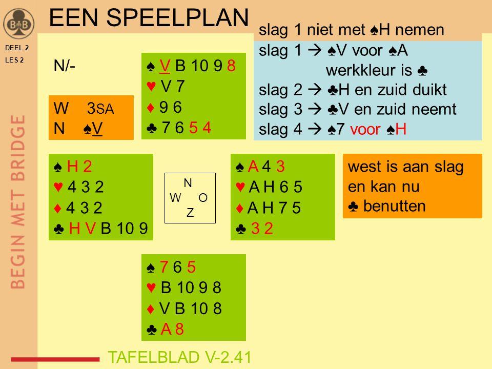 ♠ H 2 ♥ 4 3 2 ♦ 4 3 2 ♣ H V B 10 9 ♠ V B 10 9 8 ♥ V 7 ♦ 9 6 ♣ 7 6 5 4 ♠ A 4 3 ♥ A H 6 5 ♦ A H 7 5 ♣ 3 2 ♠ 7 6 5 ♥ B 10 9 8 ♦ V B 10 8 ♣ A 8 N W O Z N/- DEEL 2 LES 2 slag 1  ♠V voor ♠A werkkleur is ♣ slag 2  ♣H en zuid duikt slag 3  ♣V en zuid neemt slag 4  ♠7 voor ♠H W 3 SA N ♠V EEN SPEELPLAN slag 1 niet met ♠H nemen TAFELBLAD V-2.41 west is aan slag en kan nu ♣ benutten