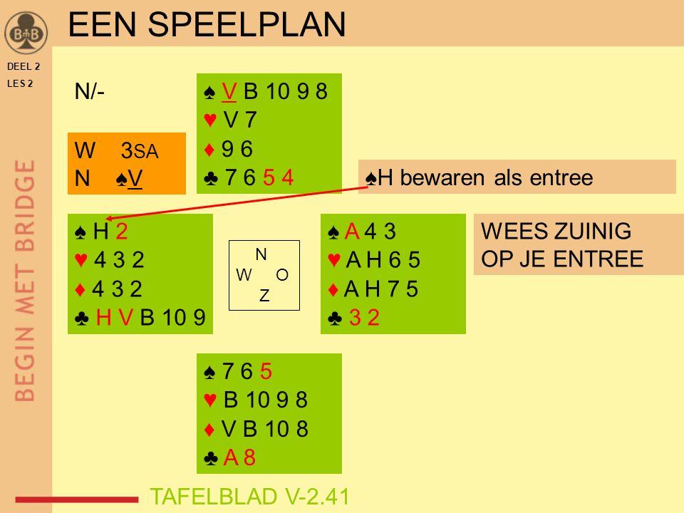 ♠ H 2 ♥ 4 3 2 ♦ 4 3 2 ♣ H V B 10 9 ♠ V B 10 9 8 ♥ V 7 ♦ 9 6 ♣ 7 6 5 4 ♠ A 4 3 ♥ A H 6 5 ♦ A H 7 5 ♣ 3 2 N W O Z N/- DEEL 2 LES 2 ♠H bewaren als entree WEES ZUINIG OP JE ENTREE ♠ 7 6 5 ♥ B 10 9 8 ♦ V B 10 8 ♣ A 8 W 3 SA N ♠V EEN SPEELPLAN TAFELBLAD V-2.41