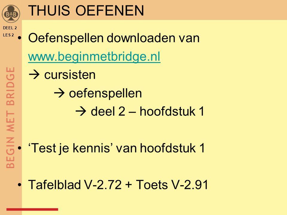 Oefenspellen downloaden van www.beginmetbridge.nl  cursisten  oefenspellen  deel 2 – hoofdstuk 1 'Test je kennis' van hoofdstuk 1 Tafelblad V-2.72 + Toets V-2.91 DEEL 2 LES 2 THUIS OEFENEN