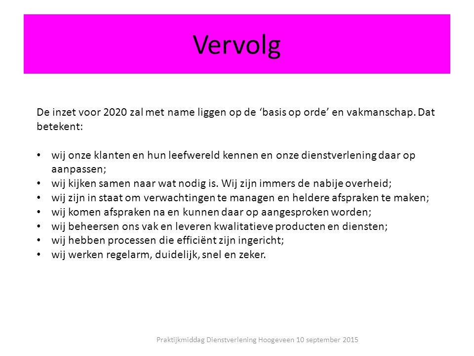 Vervolg Praktijkmiddag Dienstverlening Hoogeveen 10 september 2015 De inzet voor 2020 zal met name liggen op de 'basis op orde' en vakmanschap.