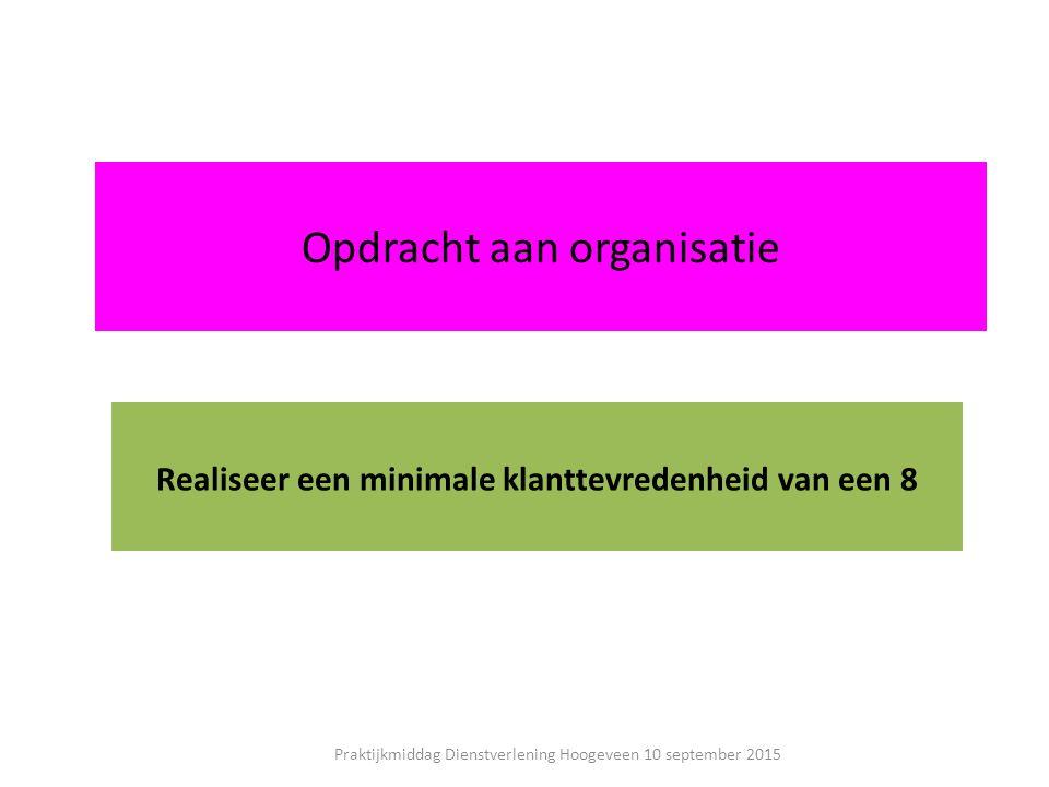 Opdracht aan organisatie Realiseer een minimale klanttevredenheid van een 8 Praktijkmiddag Dienstverlening Hoogeveen 10 september 2015