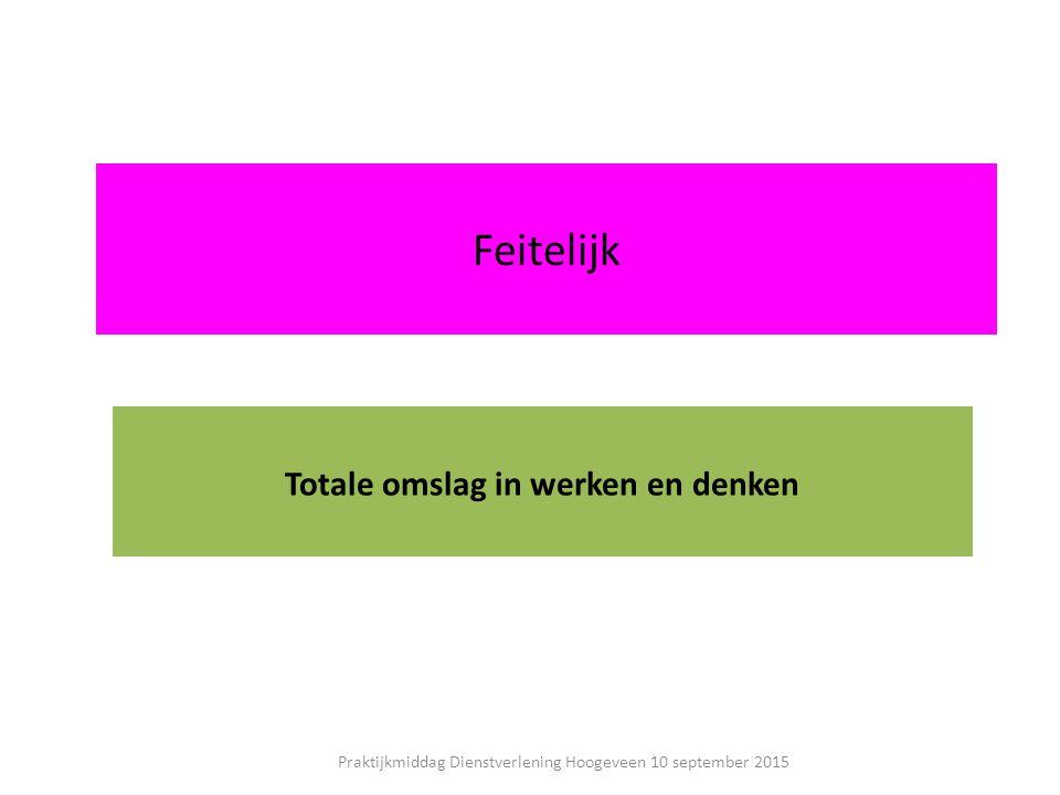 Feitelijk Totale omslag in werken en denken Praktijkmiddag Dienstverlening Hoogeveen 10 september 2015