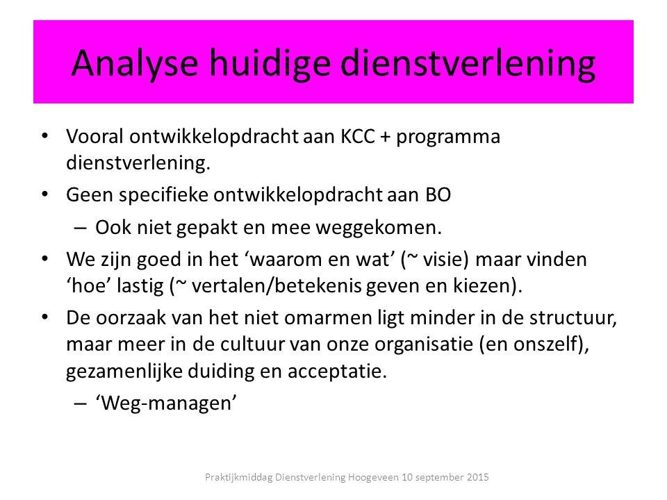 Analyse huidige dienstverlening Vooral ontwikkelopdracht aan KCC + programma dienstverlening.