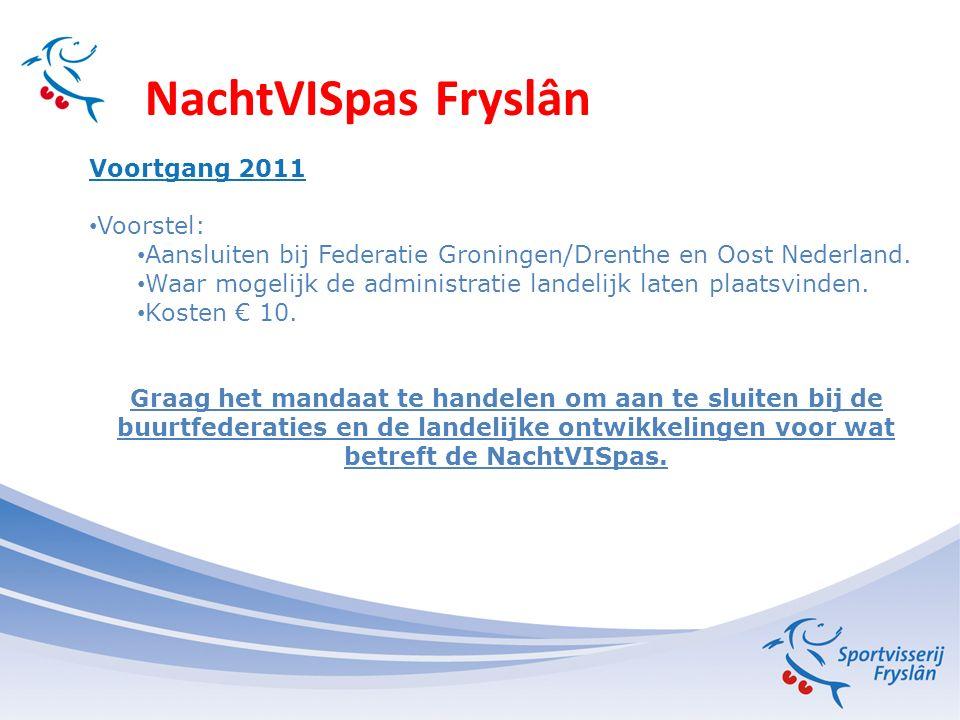 NachtVISpas Fryslân Voortgang 2011 Voorstel: Aansluiten bij Federatie Groningen/Drenthe en Oost Nederland.