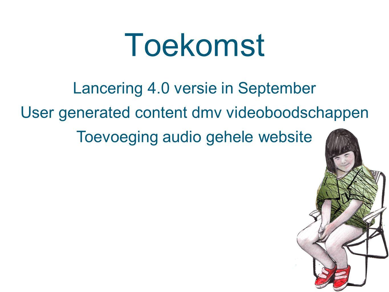 Toekomst Lancering 4.0 versie in September User generated content dmv videoboodschappen Toevoeging audio gehele website