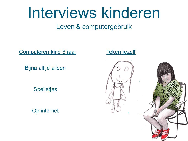 Interviews kinderen Teken jezelf Leven & computergebruik Computeren kind 6 jaar Bijna altijd alleen Spelletjes Op internet