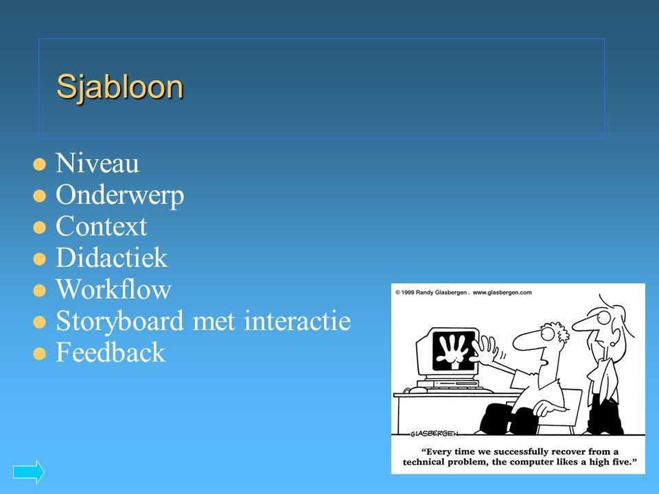 Sjabloon Niveau Onderwerp Context Didactiek Workflow Storyboard met interactie Feedback