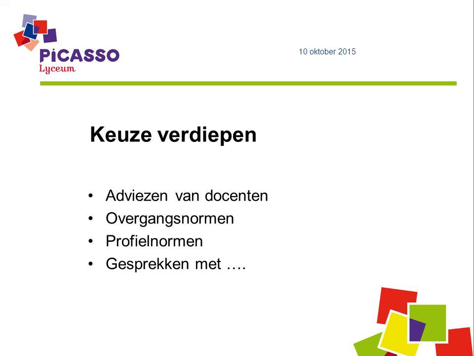 Keuze verdiepen 10 oktober 2015 Adviezen van docenten Overgangsnormen Profielnormen Gesprekken met ….