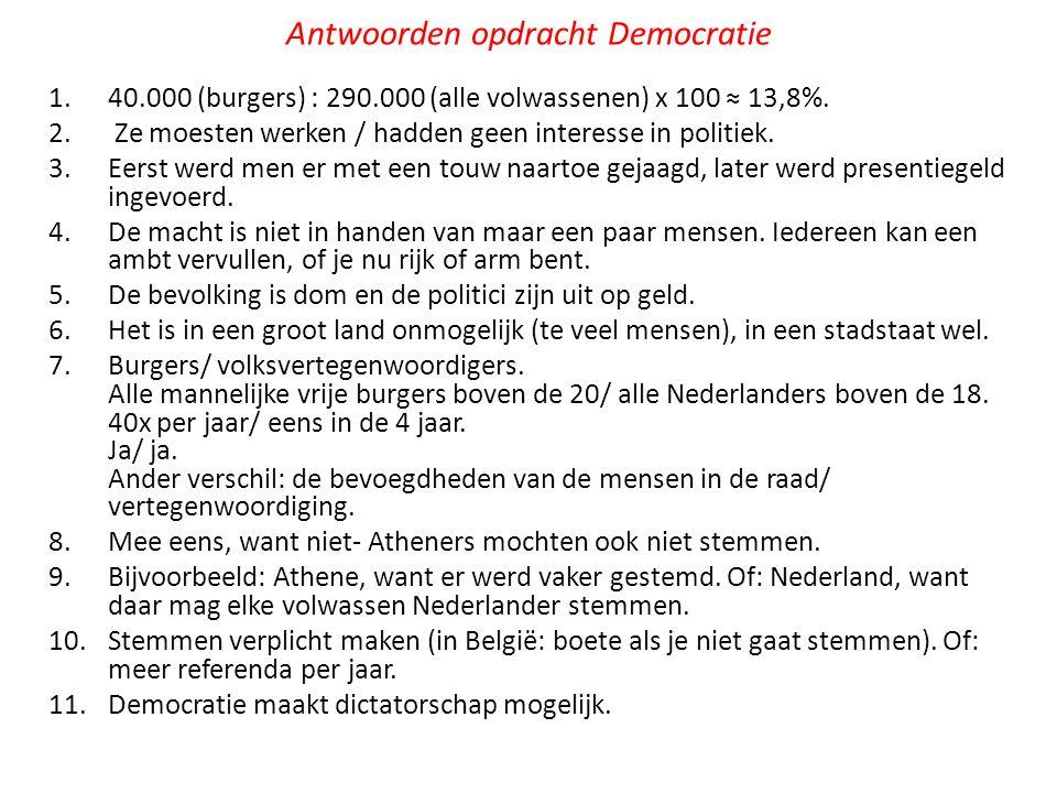 Antwoorden opdracht Democratie 1.40.000 (burgers) : 290.000 (alle volwassenen) x 100 ≈ 13,8%.