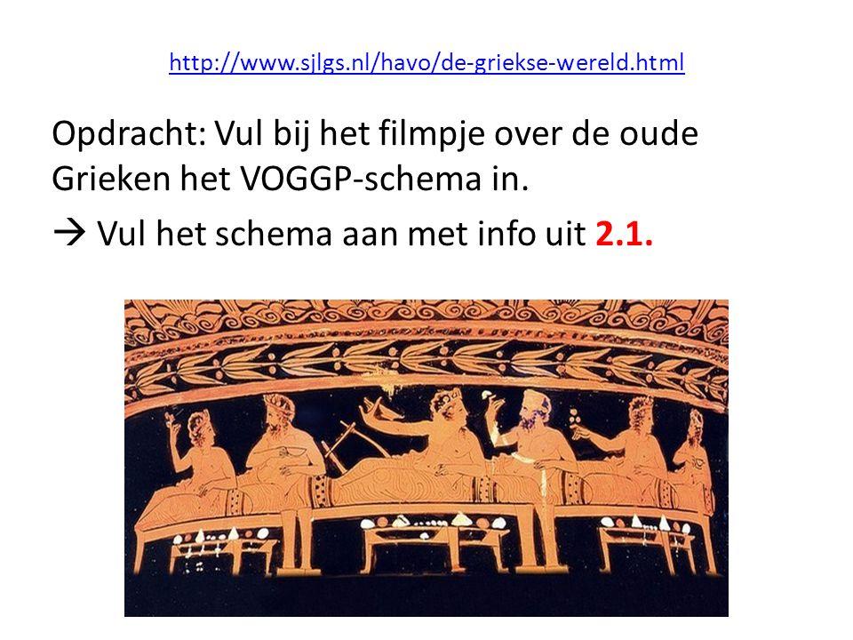 http://www.sjlgs.nl/havo/de-griekse-wereld.html Opdracht: Vul bij het filmpje over de oude Grieken het VOGGP-schema in.  Vul het schema aan met info