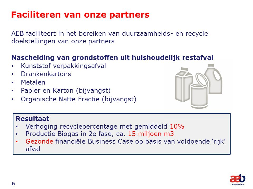 Faciliteren van onze partners 6 AEB faciliteert in het bereiken van duurzaamheids- en recycle doelstellingen van onze partners Nascheiding van grondstoffen uit huishoudelijk restafval Kunststof verpakkingsafval Drankenkartons Metalen Papier en Karton (bijvangst) Organische Natte Fractie (bijvangst) Resultaat Verhoging recyclepercentage met gemiddeld 10% Productie Biogas in 2e fase, ca.