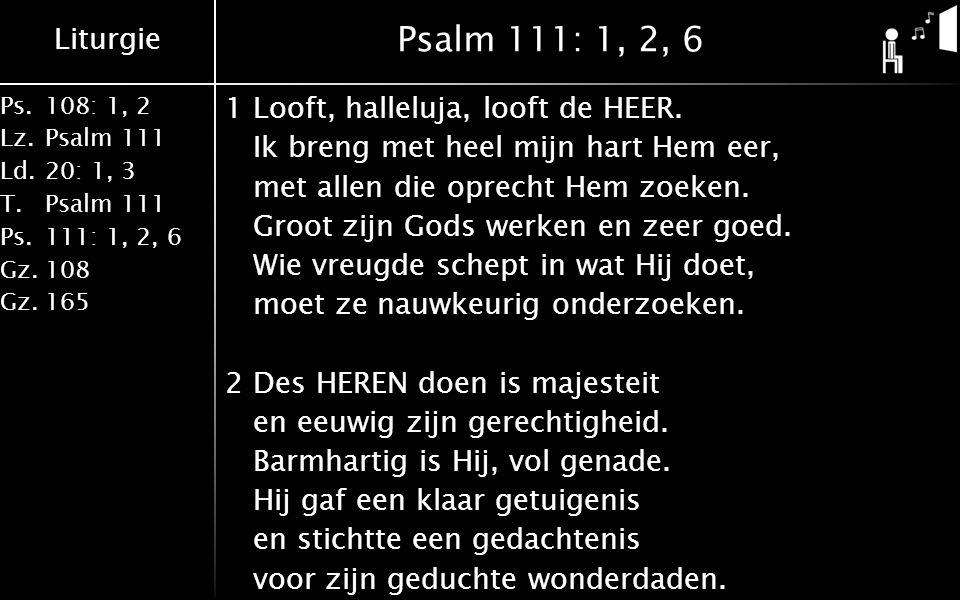 Liturgie Ps.108: 1, 2 Lz.Psalm 111 Ld.20: 1, 3 T.Psalm 111 Ps.111: 1, 2, 6 Gz.108 Gz.165 Psalm 111: 1, 2, 6 1Looft, halleluja, looft de HEER. Ik breng