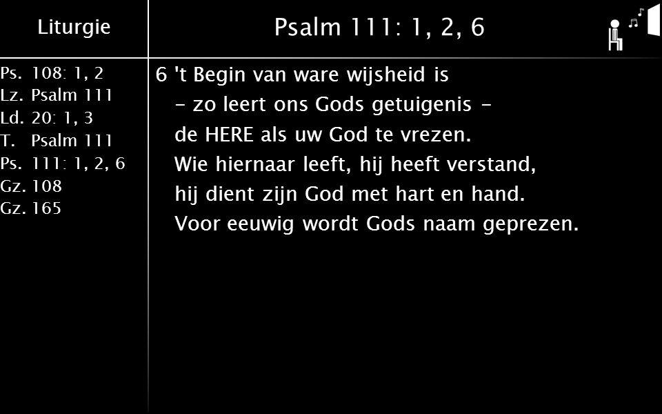 Liturgie Ps.108: 1, 2 Lz.Psalm 111 Ld.20: 1, 3 T.Psalm 111 Ps.111: 1, 2, 6 Gz.108 Gz.165 Psalm 111: 1, 2, 6 6 t Begin van ware wijsheid is - zo leert ons Gods getuigenis - de HERE als uw God te vrezen.