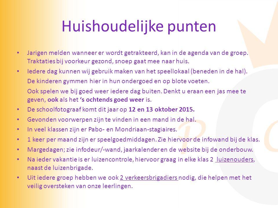 Huishoudelijke punten Jarigen melden wanneer er wordt getrakteerd, kan in de agenda van de groep.