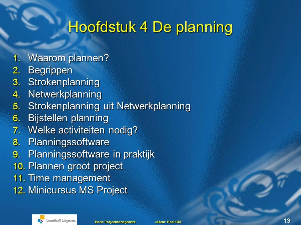12 Boek: Projectmanagement Auteur: Roel Grit Stoppen project.