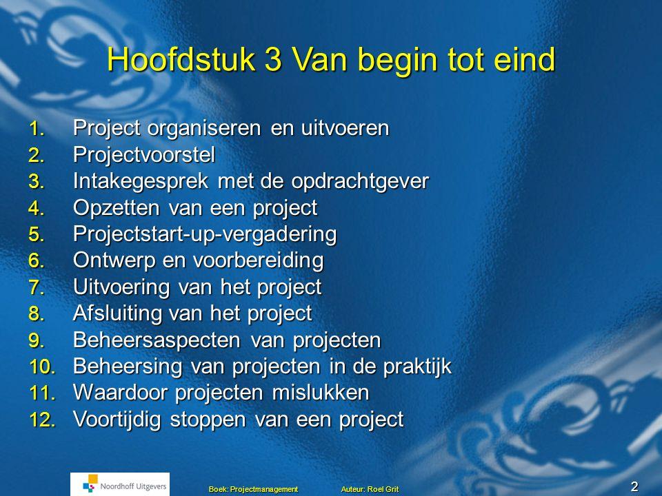 2 Boek: Projectmanagement Auteur: Roel Grit Hoofdstuk 3 Van begin tot eind 1.