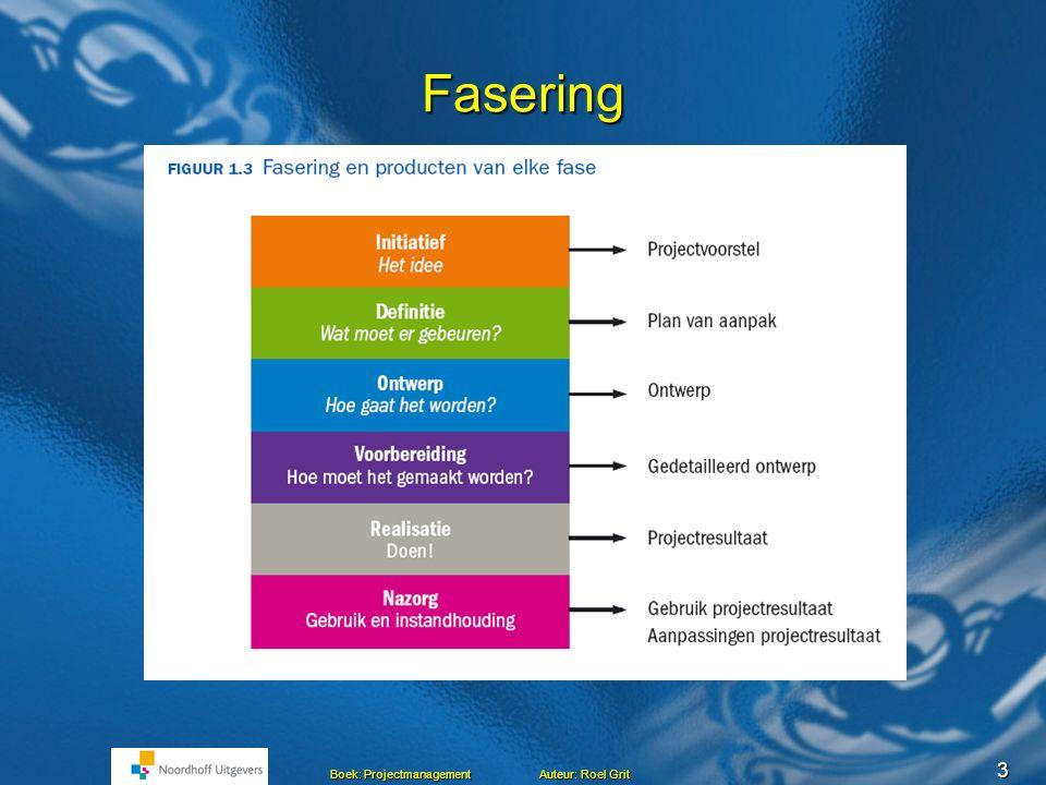 3 Boek: Projectmanagement Auteur: Roel Grit Fasering