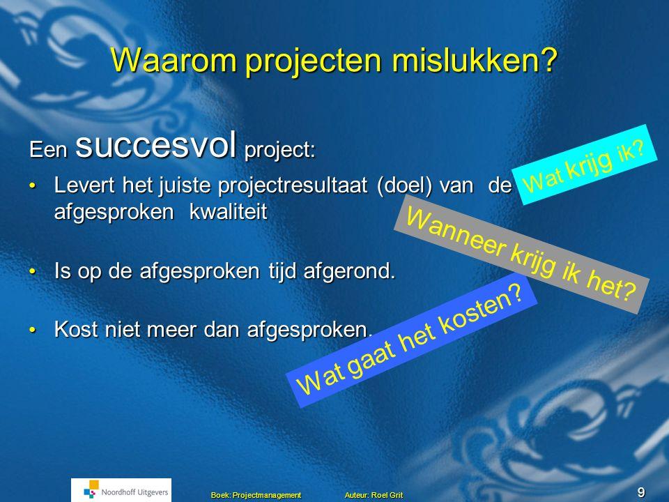 9 Boek: Projectmanagement Auteur: Roel Grit Waarom projecten mislukken.