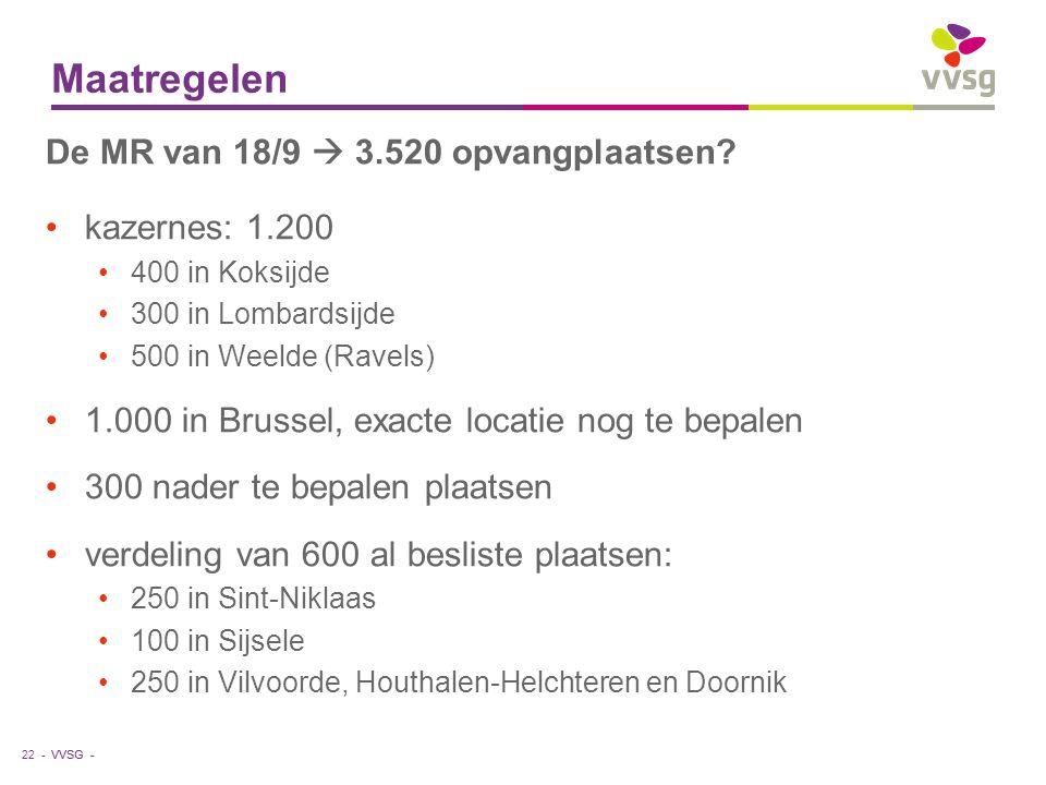 VVSG - Maatregelen 22 - De MR van 18/9  3.520 opvangplaatsen.