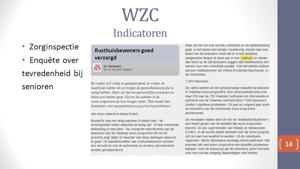 WZC Indicatoren Zorginspectie Enquête over tevredenheid bij senioren 14 Rusthuisbewoners goed verzorgd