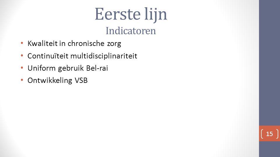 Eerste lijn Indicatoren Kwaliteit in chronische zorg Continuïteit multidisciplinariteit Uniform gebruik Bel-rai Ontwikkeling VSB 15