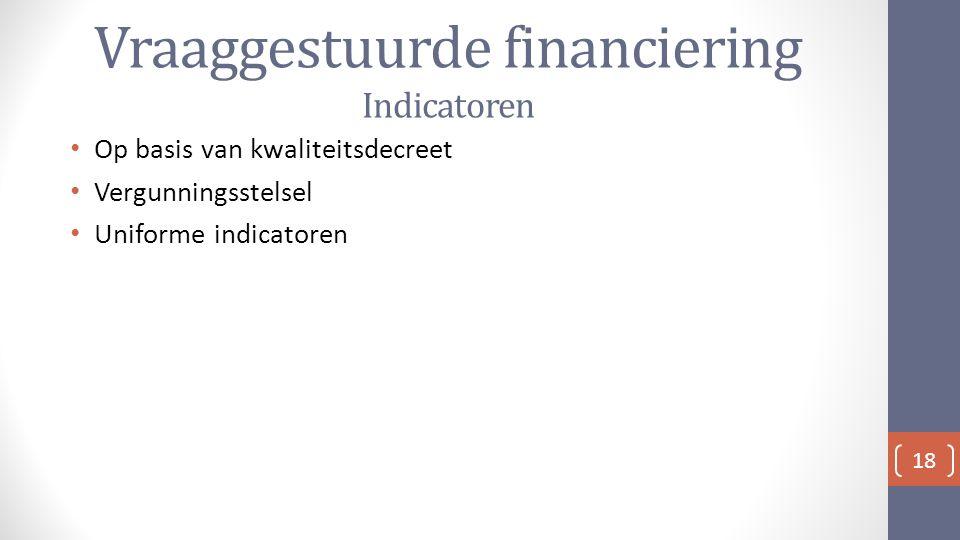 Vraaggestuurde financiering Indicatoren Op basis van kwaliteitsdecreet Vergunningsstelsel Uniforme indicatoren 18