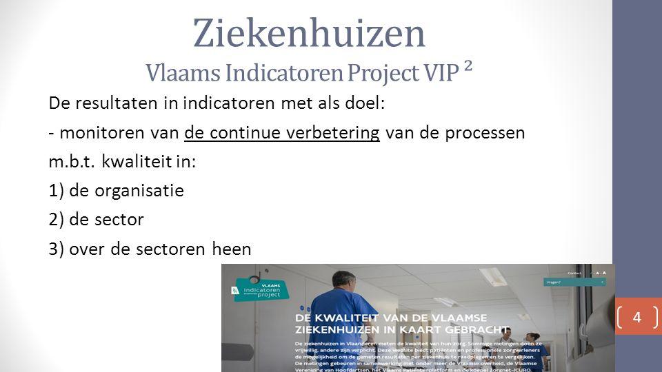 Ziekenhuizen Vlaams Indicatoren Project VIP ² De resultaten in indicatoren met als doel: - monitoren van de continue verbetering van de processen m.b.t.