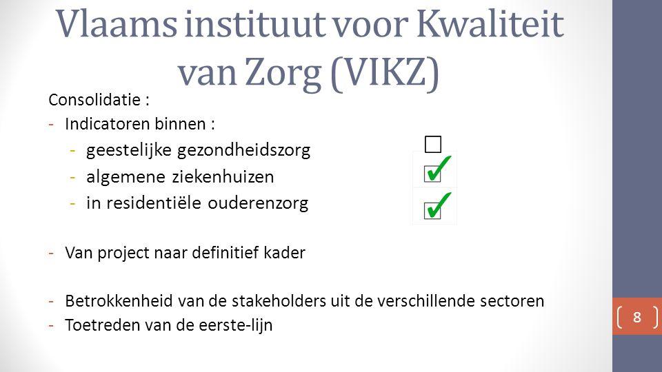 Vlaams instituut voor Kwaliteit van Zorg (VIKZ) Consolidatie : -Indicatoren binnen : -geestelijke gezondheidszorg -algemene ziekenhuizen -in residentiële ouderenzorg -Van project naar definitief kader -Betrokkenheid van de stakeholders uit de verschillende sectoren -Toetreden van de eerste-lijn 8