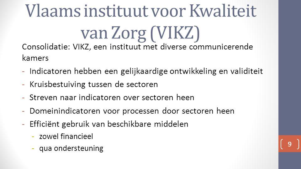 Vlaams instituut voor Kwaliteit van Zorg (VIKZ) Consolidatie: VIKZ, een instituut met diverse communicerende kamers -Indicatoren hebben een gelijkaardige ontwikkeling en validiteit -Kruisbestuiving tussen de sectoren -Streven naar indicatoren over sectoren heen -Domeinindicatoren voor processen door sectoren heen -Efficiënt gebruik van beschikbare middelen -zowel financieel -qua ondersteuning 9