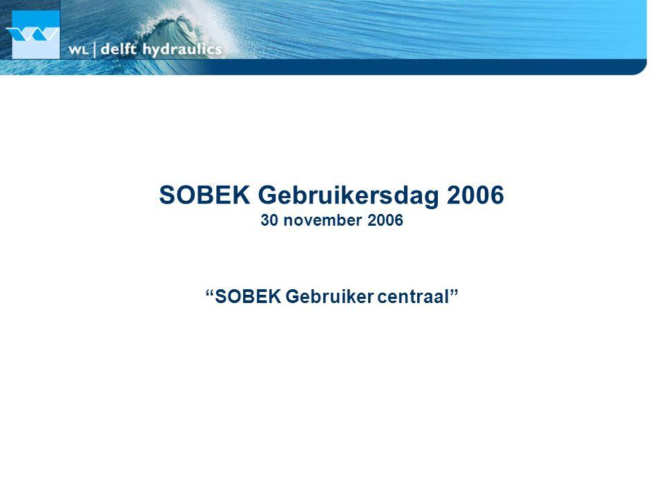 Programma 12:00 – 13:00Ontvangst met lunch en expositie in hal voor de colloquiumzaal te Delft 13:00 – 13:10Welkom 13:10 – 13:45 SOBEK Gebruiker aan het woord : Nelen & Schuurmans Gegevensplatform Turtle in combinatie met SOBEK 13:45 – 14:20 Terugkoppeling ontwikkelingen: Emission module 14:20 – 15:00Pauze 15:00 – 15:35 SOBEK Gebruiker aan het woord : Waterschap Regge en Dinkel SOBEK in het dagelijks beheer bij Waterschap Regge en Dinkel 15:35 – 16:30 Verbeterd product en klantgerichte service 16:30 – 17:30Afsluitend borrel